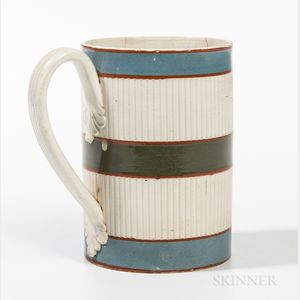 Mocha Pearlware and Engine-turned Pint Mug