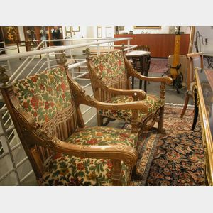 """Pair of American Renaissance Revival Bronze-Mounted and Part-Gilded """"Great Chairs,"""""""