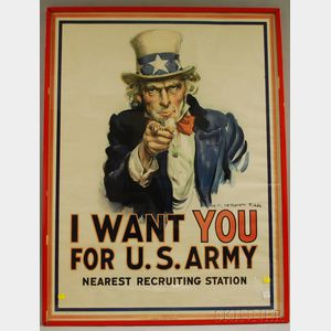 Sold for: $2,066 - WWI James Montgomery Flagg Lithograph I Want You For U.S. Army   Poster