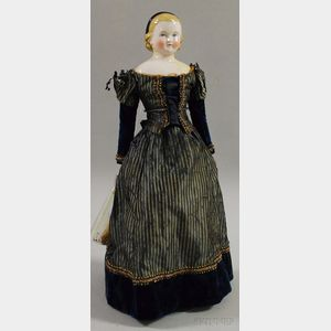 Large Blonde China Doll with Hairband and Snood