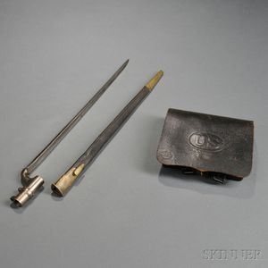 1864 Pattern Cartridge Box, Enfield Bayonet, and Scabbard