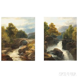 James Burrell Smith (British, 1822-1897)      Pair of Landscapes with Waterfalls: On the Ti..., Wales