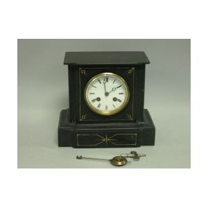 French Gilt Decorated Black Marble Mantel Clock.