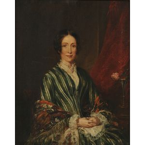 """British School, 19th Century      Portrait of a Lady, thought to be """"Mrs. Gaskell"""""""