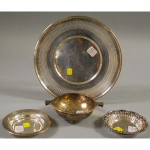 Four Sterling Silver and Silver-plated Tableware Articles