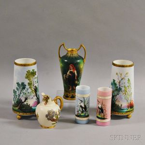 Six Mostly Glass and Porcelain Vases