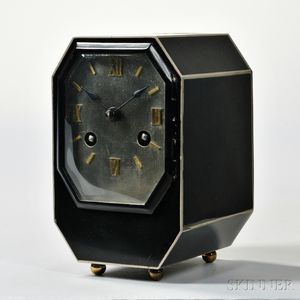 Black and Silver Art Deco Desk Clock