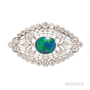 Art Deco Platinum, Black Opal, and Diamond Brooch