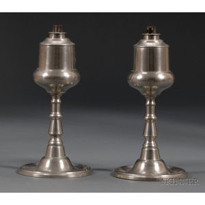 Pair of Pewter Whale Oil Lamps