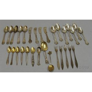 Approximately Thirty Mostly Sterling and Coin Silver Flatware Items