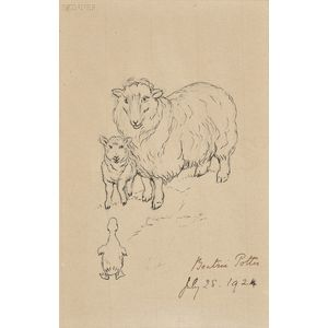 Beatrix Potter (British, 1866-1943)      A Ewe and Lamb Meet a Duckling