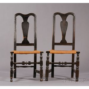Near Pair of Spanish Brown-painted Carved and Turned Side Chairs