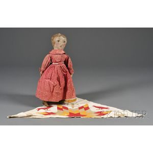 Painted Cloth Doll and a Pieced and Appliqued Cotton Quilt Fragment