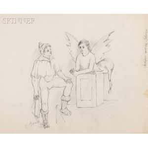 Christian Bérard, called Bébé (French, 1902-1949)      Oedipus und die Sphinx ,  A Sketch for a Mural in the Apartment of Jean Cocteau