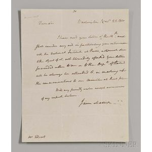 Madison, James (1751-1863) Autograph Letter Signed, 22 November 1810.