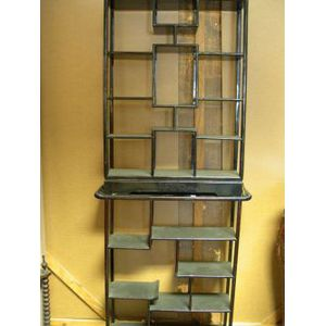 Two Small Chinese Hardwood Open Display Cabinets.