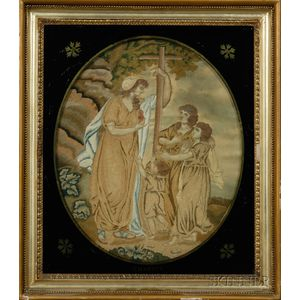 Three Silk Needlework Pictures Depicting Faith, Hope, and Charity