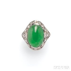 Art Deco Platinum, Jade, and Diamond Ring