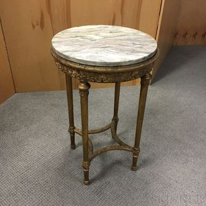 Louis XVI-style Gold-painted Marble-top Gueridon