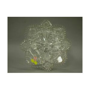 Large Colorless Cut Glass Charger.