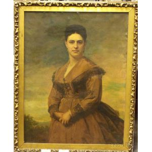 Framed Oil on Canvas Portrait of a Lady by James Harvey Young (American,    1830-1918)