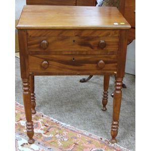 Cherry and Mahogany Veneer Two-Drawer Work Table.