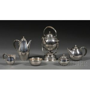 """Georg Jensen Sterling Six Piece """"Cosmos"""" Pattern Tea and Coffee Service"""