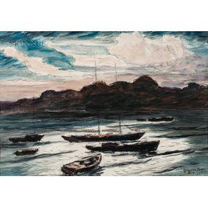 Reynolds Beal (American, 1867-1951)      Moonlight - Rockport