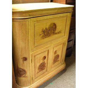 Asian Carved Hardwood Bar Cabinet.