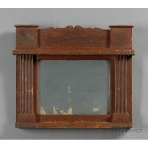 Carved Red-painted Pine Mirror