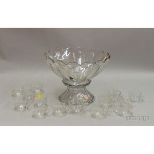 Heisey Colorless Pressed Glass Punchbowl with Pedestal and a Set of Fourteen Cups
