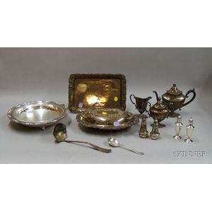 Group of Silver Plated Serving Items and Two Pairs of Sterling Weighted   Casters