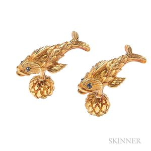 18kt Gold and Sapphire Cuff Links, Schlumberger for Tiffany & Co.