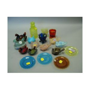 Eighteen Colored Pressed Glass Hen on Nests, Toothpicks, Hen Salts, Cup Plates and a Scent Bottle.
