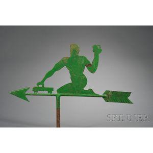 Green-painted Figural Sheet-Iron Weather Vane