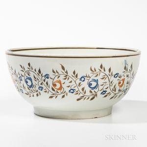 Pearlware Painted Hemispherical Bowl