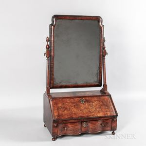 Queen Anne Burl Veneer Dressing Mirror