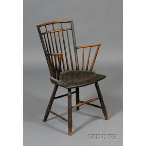 Black-painted Rod-back Windsor Armchair