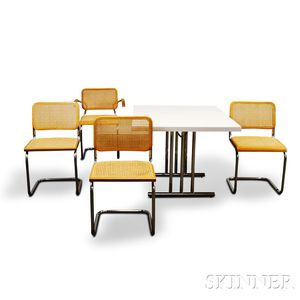 Mid-century Laminated Table and Set of Four Caned Homeward Italy Chairs