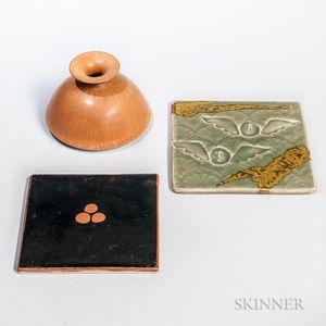 Brother Thomas Bezanson Vase and Two Pottery Tiles