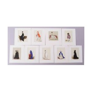 Set of Nine Hand-Drawn Ladies' Costumes with Transferable Head