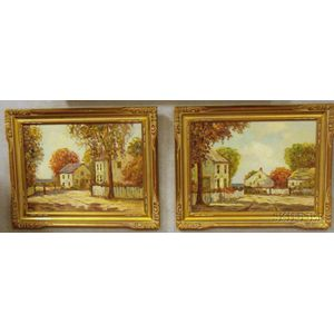 Lot of Two Oil on Canvasboard Views of a Coastal Town by Frances      H. McKay  (American, b. 1880)
