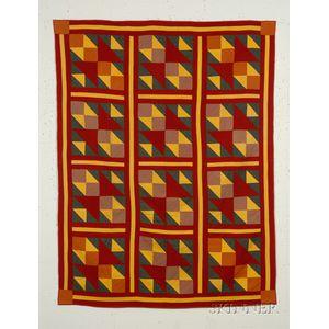 Pieced Wool Geometric Quilt