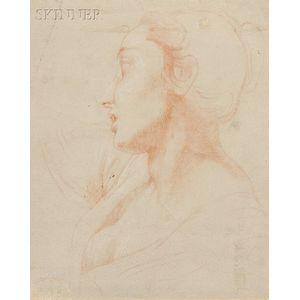Attributed to Pompeo Girolamo Batoni (Italian, 1708-1787)      Profile of a Woman