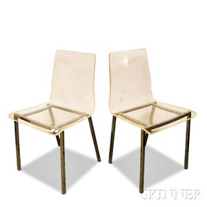 Pair of Modernist Plexiglas and Chromed Steel Side Chairs