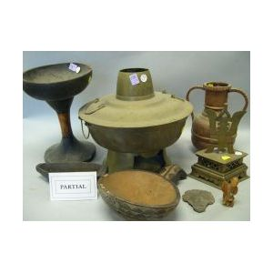 Seven Ethnographic Wood and Metal Items and a Pair of Chinese Brass Candleholders.