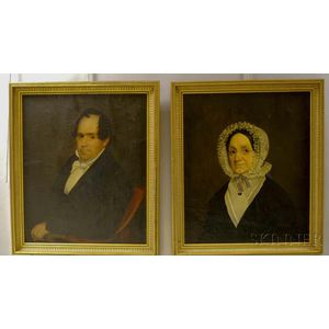 Two Framed American School Oil on Canvas Portraits