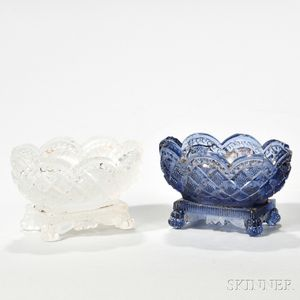 Two Pressed Glass Strawberry Diamond Pattern Open Salts