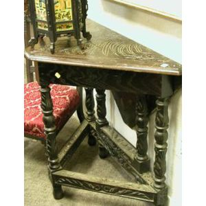 Jacobean-style Carved Oak Handkerchief Table.