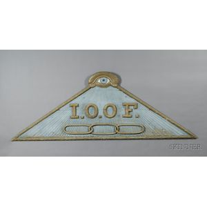 Large Carved and Painted Pine Odd Fellows Lodge Sign